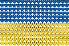 Le drapeau de l'Ukraine aux coeurs Photo stock