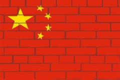 Le drapeau de la Chine sur le mur des briques rouges illustration stock
