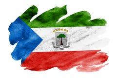 Le drapeau de la Guinée équatoriale est dépeint dans le style liquide d'aquarelle d'isolement sur le fond blanc image libre de droits