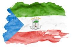 Le drapeau de la Guinée équatoriale est dépeint dans le style liquide d'aquarelle d'isolement sur le fond blanc illustration de vecteur