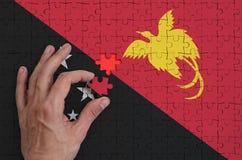 Le drapeau de la Papouasie-Nouvelle-Guinée est dépeint sur un puzzle, que la main du ` s d'homme accomplit pour plier images stock