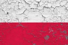 Le drapeau de la Pologne a peint sur le mur sale criqué Mod?le national sur la surface de style de cru illustration de vecteur