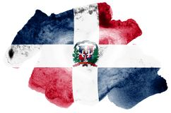 Le drapeau de la République Dominicaine est dépeint dans le style liquide d'aquarelle d'isolement sur le fond blanc illustration de vecteur