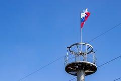 Le drapeau de la Russie sur la plate-forme d'observation Images libres de droits