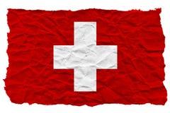 Le drapeau de la Suisse a fait du papier ondulé chiffonné ?pave de l'eau de bateau d'argent de main de crise de concept illustration libre de droits