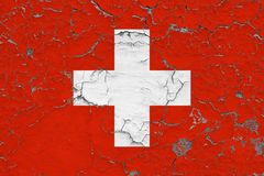 Le drapeau de la Suisse a peint sur le mur sale criqué Mod?le national sur la surface de style de cru illustration de vecteur