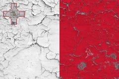 Le drapeau de Malte a peint sur le mur sale criqué Mod?le national sur la surface de style de cru illustration stock