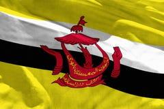 Le drapeau de ondulation du Brunei Darussalam pour l'usage comme texture ou fond, le drapeau flotte sur le vent image stock