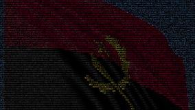 Le drapeau de ondulation de l'Angola a fait des symboles des textes sur un écran d'ordinateur Rendu 3d conceptuel Illustration de Vecteur