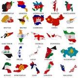 Le drapeau de pays de l'Asie trace la partie illustration de vecteur