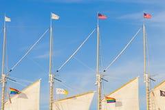 Le drapeau des Etats-Unis d'Amérique, la ville du drapeau de Chicago et photographie stock
