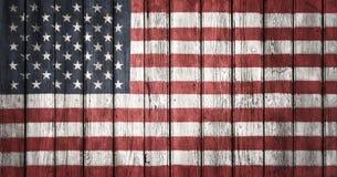 Le drapeau des Etats-Unis peint sur la planche en bois Photo libre de droits