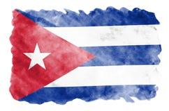 Le drapeau du Cuba est dépeint dans le style liquide d'aquarelle d'isolement sur le fond blanc illustration stock