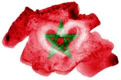 Le drapeau du Maroc est dépeint dans le style liquide d'aquarelle d'isolement sur le fond blanc photo libre de droits