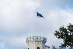 Le drapeau estonien vole sur la tour photographie stock libre de droits