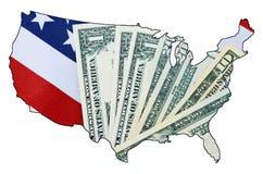 Le drapeau et l'argent de bannière étoilée des Etats-Unis dans le contour des Etats-Unis tracent Photo libre de droits