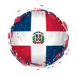 Le drapeau grunge rond de la République Dominicaine avec éclabousse dans la couleur de drapeau illustration de vecteur
