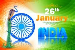Le drapeau indien coloré a décoré le paon Photos libres de droits