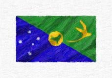 Le drapeau national de ondulation peint à la main d'Île Christmas, peinture à l'huile est Image stock