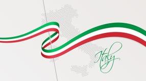 Le drapeau national et le radial onduleux ont pointillé la carte tramée de l'Italie illustration de vecteur