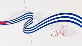 Le drapeau national et le radial onduleux ont pointillé la carte tramée du Cuba illustration de vecteur