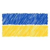 Le drapeau national tiré par la main de l'Ukraine a isolé sur un fond blanc Illustration de style de croquis de vecteur illustration de vecteur