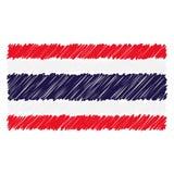 Le drapeau national tiré par la main de la Thaïlande a isolé sur un fond blanc Illustration de style de croquis de vecteur illustration de vecteur