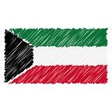 Le drapeau national tiré par la main du Kowéit a isolé sur un fond blanc Illustration de style de croquis de vecteur illustration libre de droits