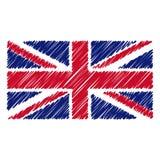 Le drapeau national tiré par la main du Royaume-Uni a isolé sur un fond blanc Illustration de style de croquis de vecteur illustration libre de droits