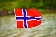Le drapeau norvégien contre la nature verte image libre de droits