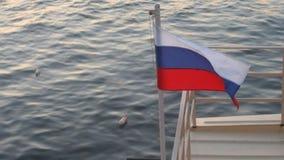 Le drapeau russe vole dans le vent banque de vidéos