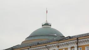 Le drapeau tricolore russe balance par le vent sur le grand bâtiment traditionnel contre le ciel nuageux banque de vidéos
