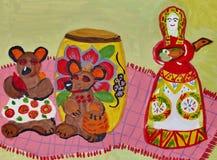 """Le drawin """"jouet des enfants de Dymkovo """" Gouache sur le papier Art naïf Art abstrait Gouache de peinture sur le papier illustration stock"""