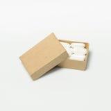 Le droghe brufen la scatola di cartone isolata su un fondo bianco Fotografia Stock Libera da Diritti