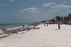Le du front de mer de Progreso dans le nord de Mérida, Yucatan, Mexique photos stock