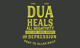 Le DUA guérit tous les négativité, mal, colère, inquiétudes et dépression priez au journal d'Allah illustration de vecteur