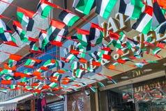 LE DUBAÏ - DÉCEMBRE 2016 : Drapeau uni d'émirats sur le marché de Dubaï E Photo stock