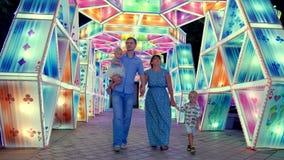 LE DUBAÏ, EMIRATS ARABES UNIS, EAU - 20 NOVEMBRE 2017 : Parc de lueur de jardin de Dubaï illuminé la nuit Jeunes promenades d'une banque de vidéos