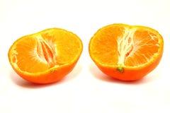 le due metà del mandarino Fotografie Stock