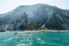 Le Due Sorelle, Conero著名海滩地中海海景  免版税图库摄影