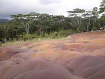 Le dune di sabbia nominate come sette hanno colorato le terre a Mauticius immagine stock libera da diritti