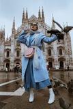 Le Duomo. MILAN, ITALY - Feb 22, 2018: High fashion Milan Fashion week El Duomo shot royalty free stock photos