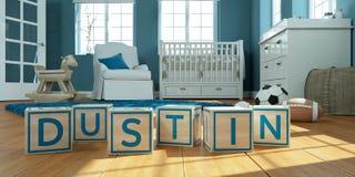Le dustin de nom écrit avec les cubes en bois en jouet chez la pièce du ` s des enfants Image stock