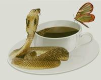 Le estamos manteniendo tranquilo La cobra guarda la calma de la mariposa fotos de archivo