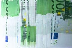 Le euro banconote si chiudono su Diverse centinaia euro banconote Fotografie Stock Libere da Diritti
