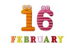 Le 16 février, sur un fond blanc, des nombres et des lettres Photo libre de droits