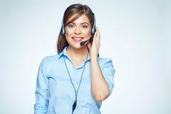 le för center operatör för ett felanmälan 2 business woman Royaltyfri Foto