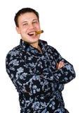 le för cigarrman Fotografering för Bildbyråer