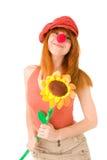 le för clownflicka Arkivbild