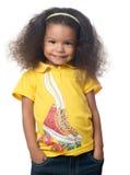 Le för flicka för gullig afrikansk amerikan litet Arkivfoton